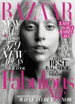 A bare-faced Lady Gaga covers the October issue of Harper's Bazaar. I am very confused by this, as Lady Gaga was also on the May issue of Harper's B and two covers in 6 months seems excessive. Am I missing something? Anyway the cover story is here.Image via Harper's Bazaar
