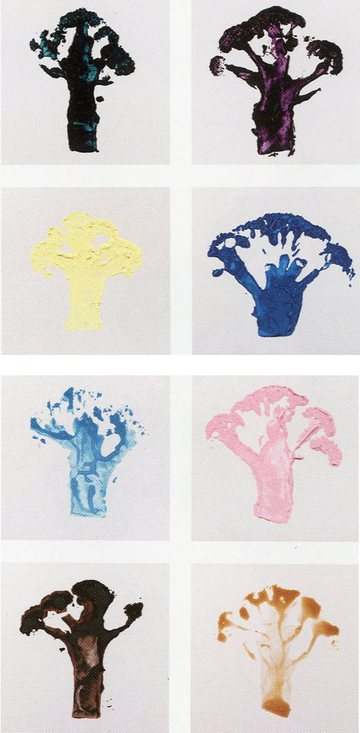 Martin Creed's broccoli prints (Work No. 912, acrylic on canvas, 2008 /  Work. No. 1000, various paints on card, 1,000 parts, 2009-2010 / Work.  No. 815, 7-inch single, 2000) via stopping off place