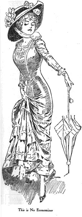 "[image: line drawing of a sleekly fashionable woman pulling up her skirt to show one extended foot. Caption reads, ""This is No Economizer.""]"