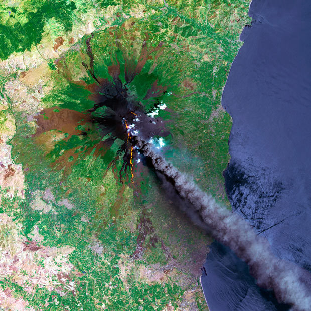 migeo:  A SPOT satellite image shows a smoke plume coming from Mount Etna, which occupies the eastern part of the Italian island of Sicily. Mount Etna is Europe's largest and most active volcano. Credit: Planet Observer / SPL / Barcroft Media. (via Telegraph)
