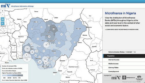 Mapping Subnational Microfinance Banking in Nigeria  To better visualize the subnational microfinance landscape in Nigeria, we partnered with the Microfinance Information Exchange (MIX) to build Nigeria.MIXmarket.org.  The new site is a window into a part of the world experiencing a  microfinance boom with growth rates ranging between 20 to 50 percent  over the past few years. The site shows where banks are and aren't  operating and aims to help show why by relating the locations of  microfinance banks with potentially relevant socio-economic indicators.