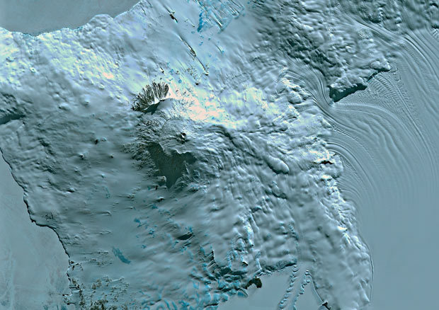 A satellite image of Mount Erebus, the southernmost active volcano on Earth located on Ross Island in Antarctica close to the South Pole, part of the Pacific Ring of Fire, which includes over 160 active volcanoes Picture: Planet Observer / SPL / Barcroft Media. (via Telegraph)