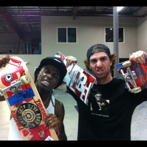 Tunechi skatin wit mike-mo @ the berrics. #2012 is around the corner (: