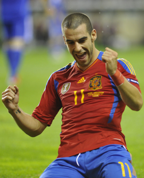 amistosa:  6 Sept. 2011: Negredo celebrates after his first goal vs. Liechtenstein.