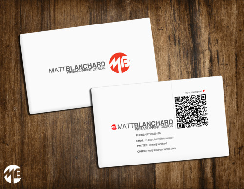 Business card design, going to get some printed up shortly.