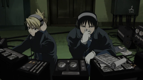 the episode in which Riza Hawkeye works at a telephone switchboard and makes her job more enjoyable by pretending that she is a techno rave DJ while her coworker Roy beatboxes
