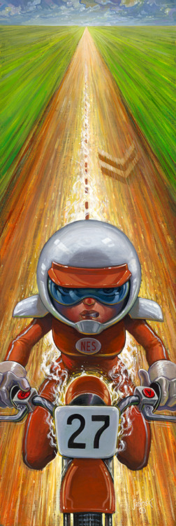 "it8bit:  Artist Aaron Jasinski took his favorite NES game Excite Bike and brought it to life in this high speed illustration. You will be able to view it at Gallery 1988's ""Video Game Art Show"" on Sept 16th in Santa Monica, CA. (High-Res) Turbo All the Way - by Aaron Jasinski Tumblr 