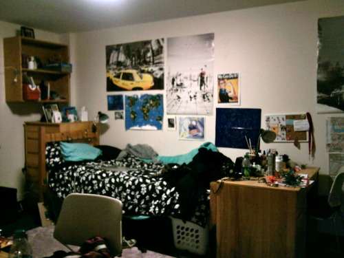 Shot of my side of the room!  The dorm is awesome! My roommates are great and I love being able to cook. :P