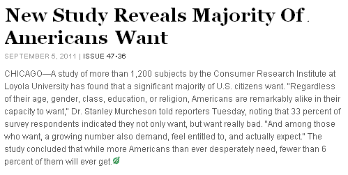 The Onion: New Study Reveals Majority Of Americans Want