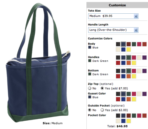 Designing a new tote bag on L.L. Bean…I can't decide which colors to use! Help!