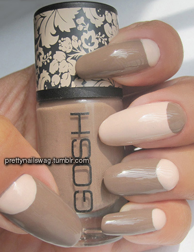 Another oldie but goodie, simple half moons, Essie - Topless & Barefoot, Gosh - Miss Mole.