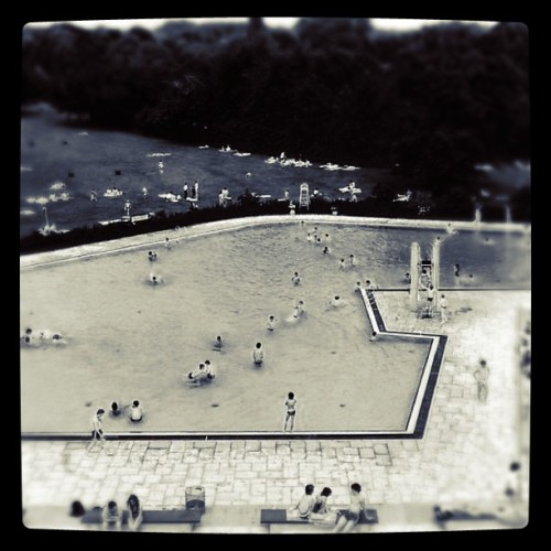 Andreas Gursky - Ratingen Swimming Pool, 1985. Modified using instagram. View original version here.