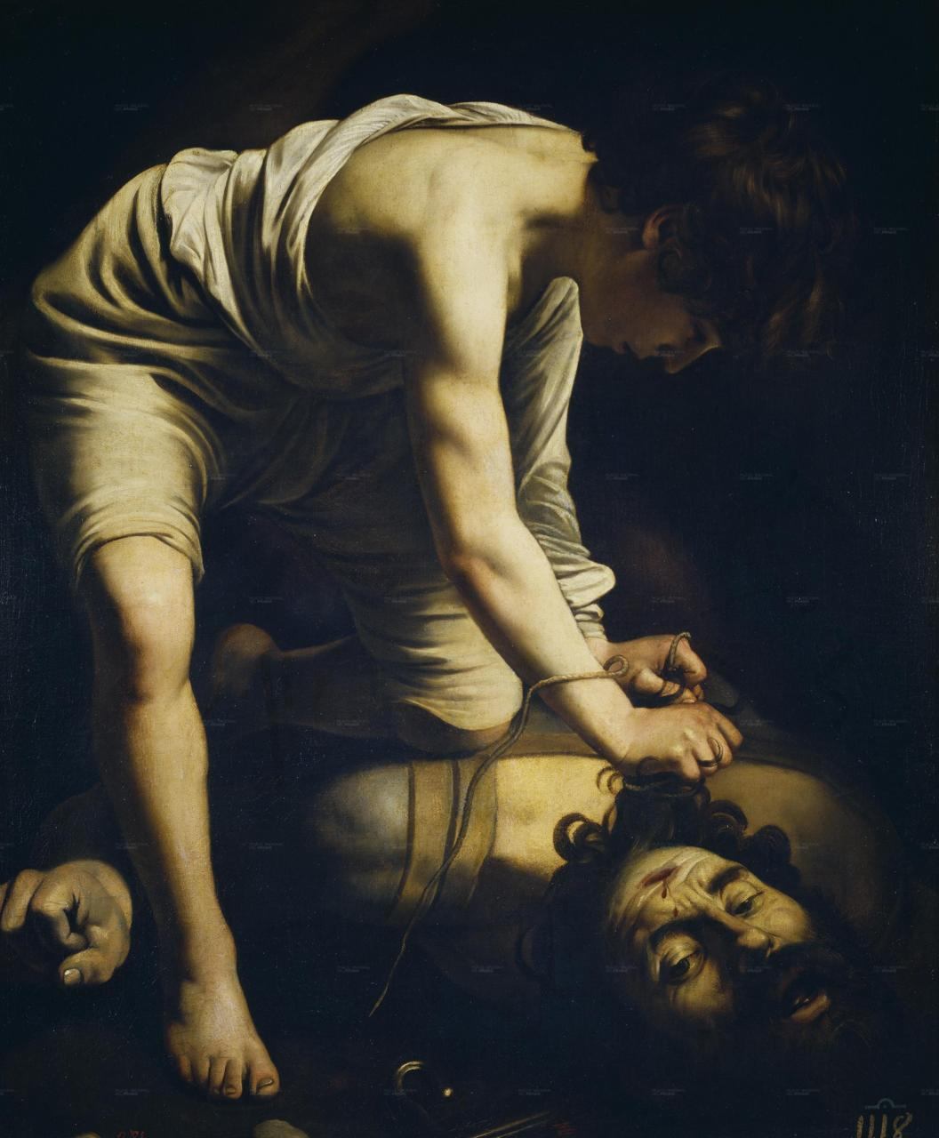 museedart:  Caravaggio, David and Goliath, 1599, oil on canvas, 110x91 cm, Prado