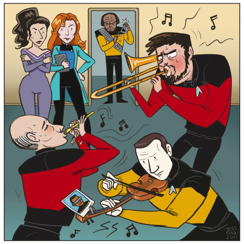 bigbigtruck:  jessfink:  TREK JAM! What I am picturing is that this sounds horrible. Data is playing some classical thing perfectly because he is a robot and that's all he can do. Meanwhile, Riker and Picard are just straight up blowin down the house with insane toots. The Doctors are confounded and Worf just wants to be part of the fun. Geordi is too busy for this shit.Trek recap comics  HEY, you know WHAT? I will be at SPX this weekend in Bethesda, MD! I will have Chester books, jewelry, and probably print versions of this crazy thing. Come see me!!! I'll be at table H6!   holy shit greatest thing all week