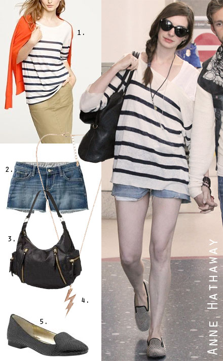 Love this airport look by Anne Hathaway! Dont know if i would use it with the studded loafers
