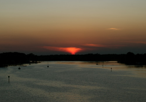 Sunset photo I took on the bridge in Oriental, North Carolina on Sunday.