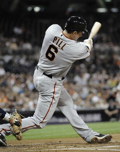 Brett Pill hitting his first Major League home run tonight for the Giants.