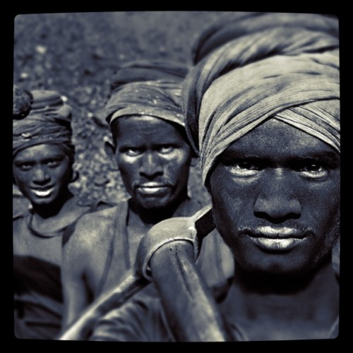 Sebastião Salgado - Coal Mining, Dhanbad, Bihar, India, 1989. Modified using instagram. View original version here.