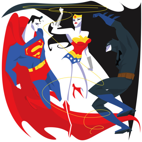 Superman, Wonder Woman, Batman~by missmatzenbatzen This is just so unique.