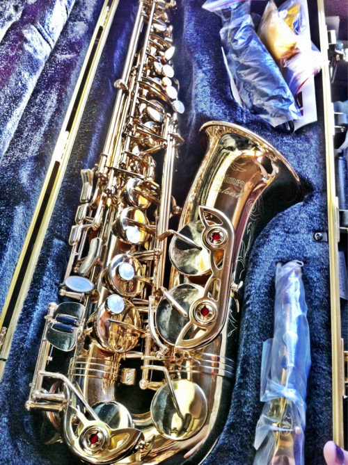 The offspring is now the proud owner of this GORGEOUS sax!  She was high as a kite.  God willing, she'll stay this excited & learn to play it.