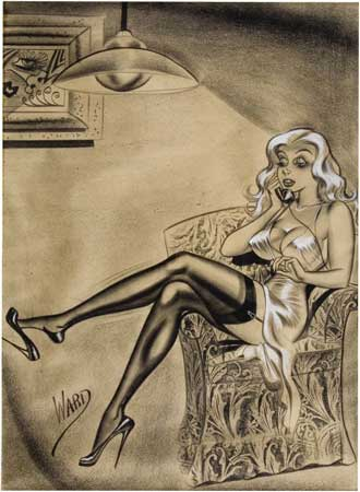 magnuseckhell:  Bill Ward's pin-up drawings are always stunningly beautiful with their sharpness and finesse. He was the master of the lead pencil.
