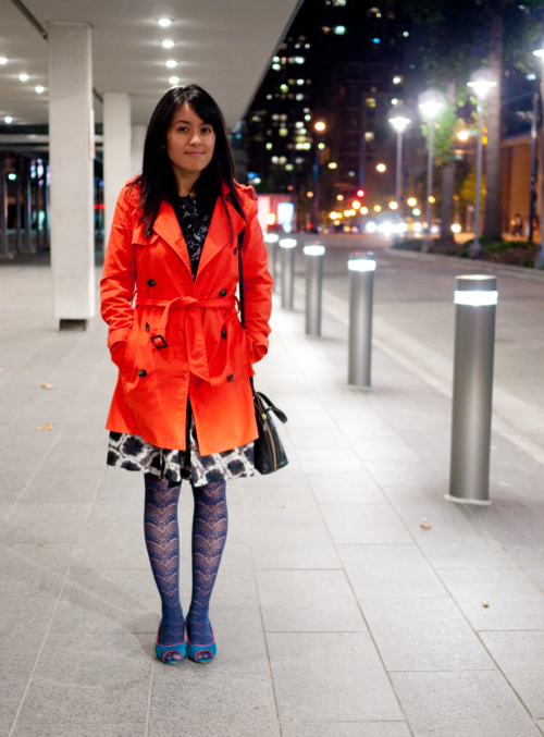 Dressy in Downtown Vancouver  So fug— but anyway, yay for mixing patterns with brights! Dress is Thakoon for Target, jacket by Zara, tights from H&M, and kitten heels by Harajuku Girls.
