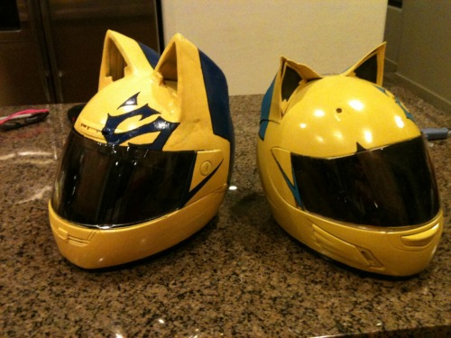 The commissioned helmet (left) next to my original celty helmet (right).Improvements:-The blue is no longer inaccurate-The window tint isn't as wrinkled as mine.-The shape of the ears and back of the helmet is accurate now-Durable, awesome ears that look more like they are part of the actual helmet.