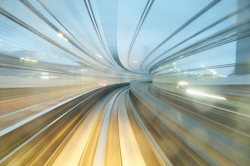 Long exposure shots by AppuruPai created from the New Transit Yurikamome, an automated guideway train that connects Odaiba to the mainland, passing through the Rainbow Bridge.