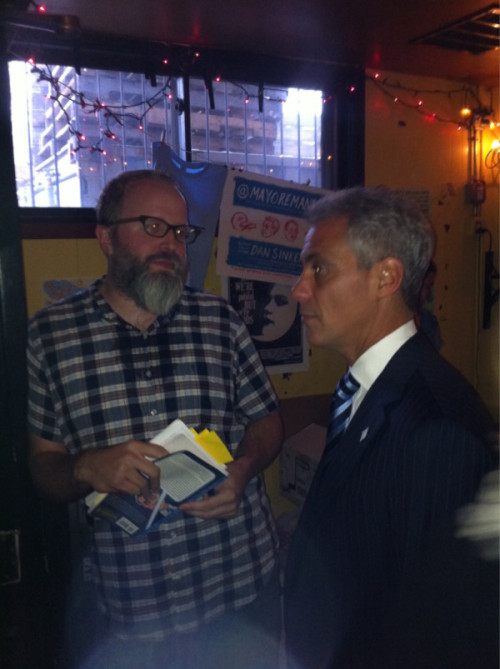 "apsies:  The real Mayor Rahm Emanuel and the fake  Rahm Emanuel met Tuesday night — but this time there was no vortex. The mayor showed up at the Hideout for  an event to promote ""The F***ing Epic Twitter Quest of @MayorEmanuel"" —  a book of vulgar tweets by Dan Sinker who was posing as Emanuel during  his campaign for mayor. Emanuel signed books, talked to patrons,  joked with the owners and left about an hour into the 6 p.m. event at  1354 W. Wabansia Ave., according to people in attendance. Real  Rahm Emanuel visits fake Rahm at book event - Chicago Sun-Times  ""I helped you win the #(&!@(&! election. You better thank me, @(&(!&!"""