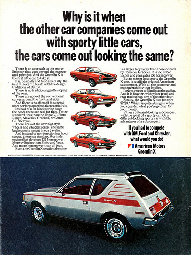 chromjuwelen:  1971 AMC Gremlin X (by aldenjewell)  Differentiation AMC had some great copy back in the day. And the cars weren't too badly styled.