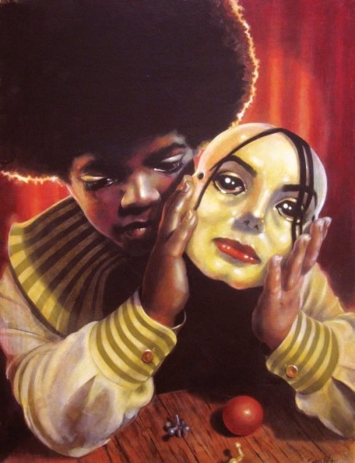 I don't know who made this painting but it speaks volumes on Michael Jackson's life and career
