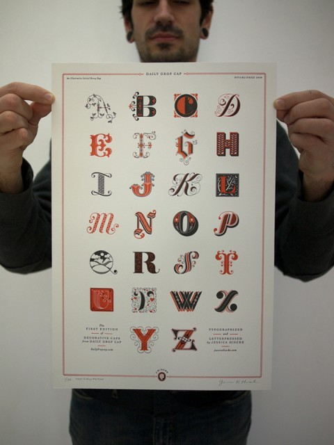 Limited Edition Letterpress Drop Cap Prints del proyecto Daily Drop Cap de Jessica Hische