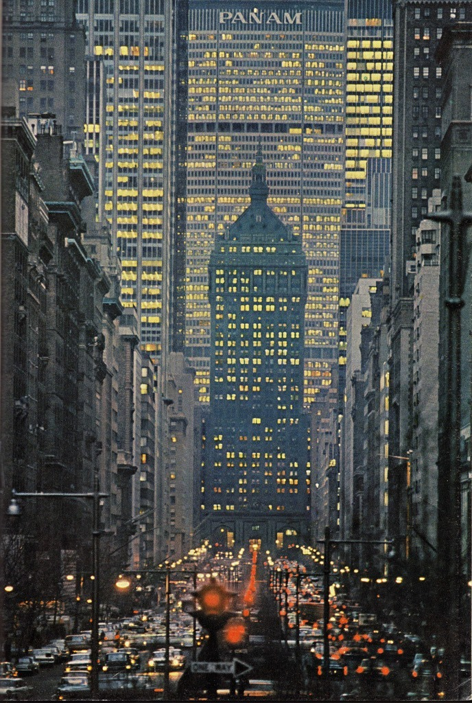 sugarmeows:  View of Park Avenue in New York (1964) The Pan Am Building (now the MetLife Building) looms large!
