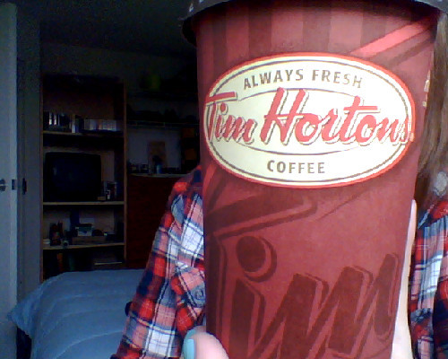 First coffee of the school year. Tim Hortons, Canada cannot survive without you. I think I might dedicate a change purse to money for Tims, assuming I'm never going to sleep properly again. (As a side note, the lady forgot I hadn't payed and was confused why I was still standing there until I handed her my money. In theory, I could have made off with a free coffee, but the thought would probably have plagued me for the rest of the month that I stole $1.60 of goods from a Tim Hortons).