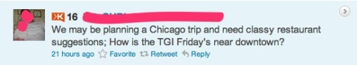 "Lovely. suxinthecity:  Welcome to another segment of ""Tweets that Amaze Me"". As a social media manager, I see a lot of awesomeness online every day. This particular jewel was contributed by a lovely coworker of mine!"