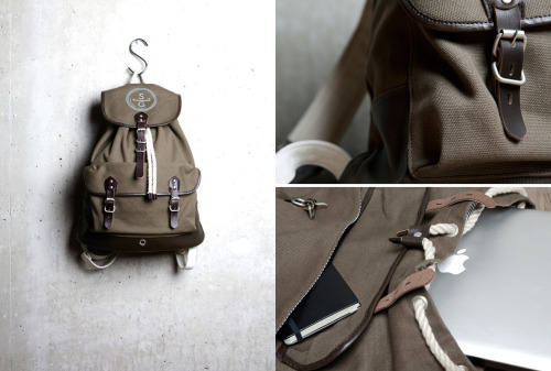 "Stighlorgan - Roban Leather / Canvas Rucksack ""We use colours that express our country and materials that remind us of things we've owned. We use rope in all our products. Rope was the first material we ever had to bind us to our belongings and it has a special place in our hearts. Keeping it present reminds us that we carry life with us."""