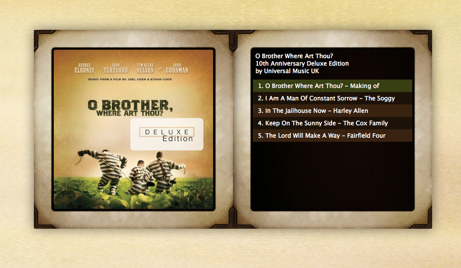 soundcloud:  File this under: Awesome! O Brother, Where Art Thou? turns 10. To hear the film's stars talk about the legendary soundtrack & 4 new tracks, click http://obrother.heroku.com/   Uhm, four new tracks? Yes, please.