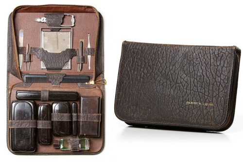 "Blackbird Vintage Leather Grooming Kit  ""Part of Blackbird's astonishing vintage collection, comes this leather grooming kit. Stuffed with any possible tool a gentleman, of either this century or an era long ago, might need at some point, plus an exclusive look that works really well. The golden zipper frames the travel accessories comprising a hand mirror, comb, tweezers, nail clippers, file, cuticle push, roll-on fragrance bottle, soap cases, toothbrush case, razor with case, and even a small hand brush.""      Shout out to:anchordivision"
