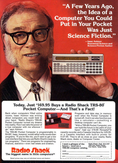 surfingforseniors:  laughingsquid:  Issac Asimov Marvels At Miniaturization   OMG A COMPUTER YOU CAN PUT IN YOUR POCKET