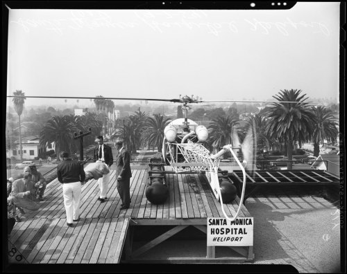 Testing the new heliport atop the Santa Monica Hospital on this day in 1954.