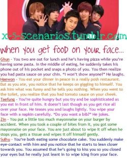 X-5 Scenario [59] When you get food on your face… Requested by choiminari