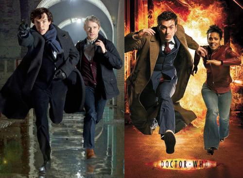 doctorwho:  Sherlock and Doctor Who: Here's The Difference jintsuri:  valeria2067:  lucindasaxon:  theneverendingdrums:  click-to-open:  valeria2067:  Here's the Difference: The Doctor Who photo features a tall, slender, rather alien genius-boy running alongside a medical professional who is smitten with him. The Sherlock photo……..Oh. OH.    Yes, but Sherlock has a long coat which billows out behind him when he runs. The Doctor just ha- … Oh. Never mind.  Yes but Sherlock wears tight fitting suits and is smarter than your average human. The Doctor's just— Riiight….  Yes, but in Doctor Who, the medical companion risks death in an attempt to save the lead character from the clutches of an evil, psychotic genius. Wheras in Sherlock…. um…….  Oh..  Yeah, but the Doctor Who companion jumps on board to help the lead even though she knows almost nothing about him and trusts him to solve their current problem that wasn't even an issue until he arrived. While In Sherlock… huh.