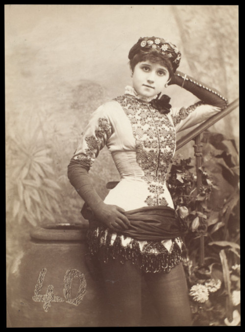 earwigbiscuits:  Connie Gilchrist as Abdallah in The Forty Thieves at the Gaiety Theatre, London, 1880. Samuel Alex Walker, photographer (V&A)