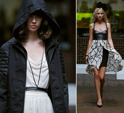 Two of our favorite looks from this morning's Mackage SS 2012 showing. It was feminine, but with a sexy toughness. The presentation was held on the beautiful terrace of the Hudson Hotel, and despite the rain was a wonderful start to what will be a hectic New York Fashion Week.