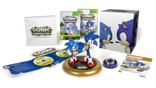 Cette superbe édition de collection de SONIC GENERATIONS ne sera pas disponible en Amérique du Nord. Bou. videogamenostalgia:  Sonic Generations Bundle Not Coming to North America SEGA has revealed this awesome Collector's Edition to go with the release of Sonic Generations and for Sonic's 20th Anniversary. However, this bundle isn't coming to North America! It will be making its way to Europe and Australia though (So very jealous right now). The bundle will include a figurine of the two Sonics, a commemorative ring, an art book, and a Sonic soundtrack. Unspecified downloadable content will also be available. Sonic Generations will be available on the Xbox 360, PS3, and 3DS starting this November. (via: gameinformer)