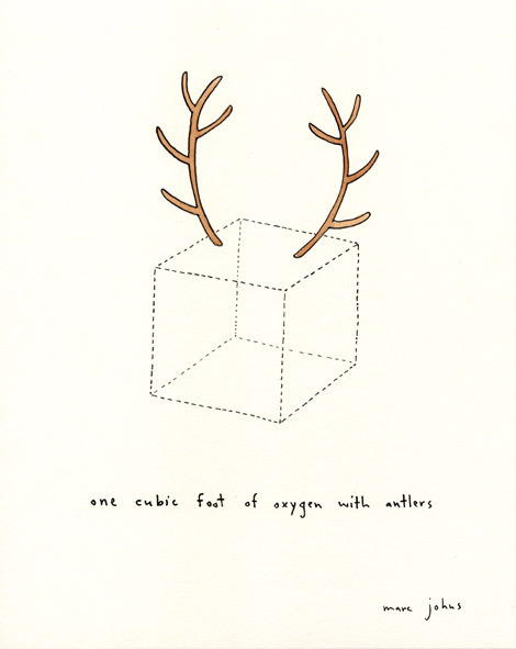 One cubic foot of oxygen with antlers, by Marc Johns