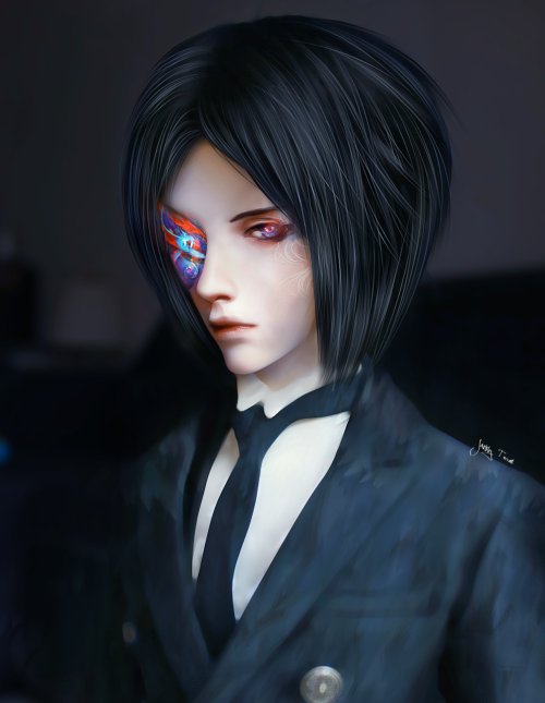 Click for better quality   My idea of what Sebastian Michaelis should look like. The evil side of him that is.  Ignore his suit, I'm still in the process of learning how to paint clothes.
