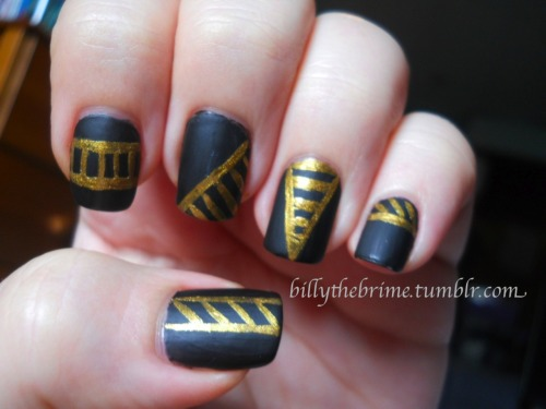 Nail Art Challenge Design 9: Lines Colors used: L.A. Girl Matte- Black L.A. Colors Art Deco- Gold Essie- Matte About You only over the black