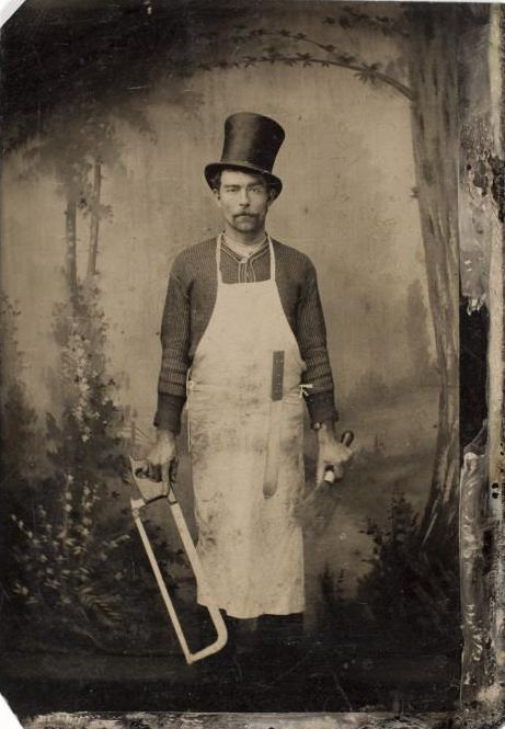 tuesday-johnson:  ca. 1875, [tintype portrait of a butcher] via the International Center of Photography, American and the Tintype Collection