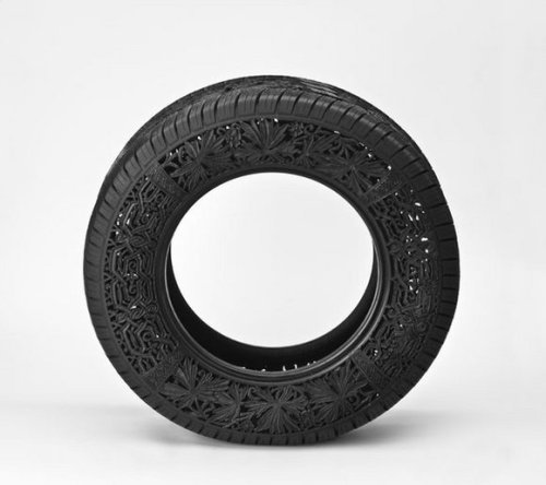 defacedbook:  Wim Delvoye Untitled (car tyre # 3) 2009 Handcarved car tyre Ø 74 x 23 cm